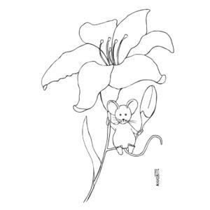 kleurplaat muis lelie gratis