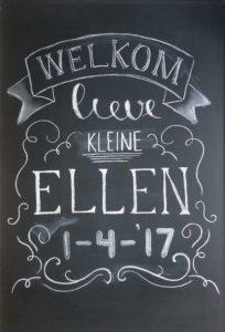 Welkom Ellen krijtbord